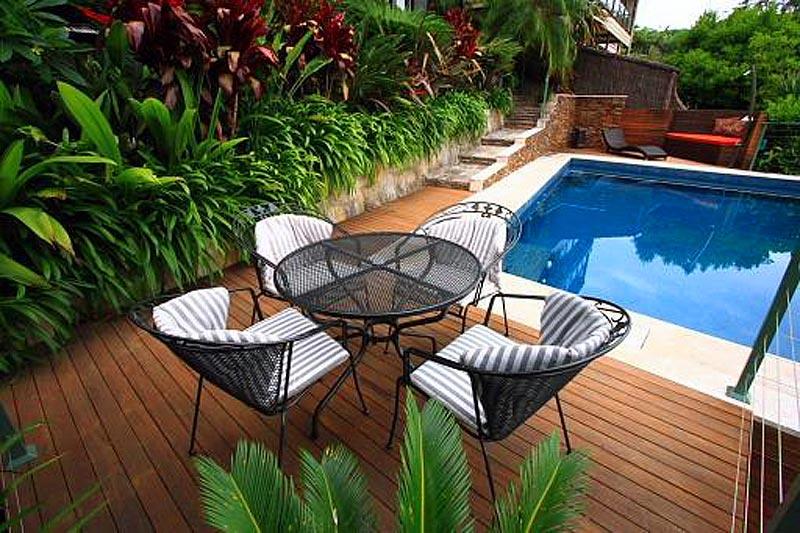 Peaceful pool landscape area